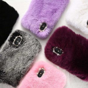 Plushy Furry iPhone Case - Cherry & Oak